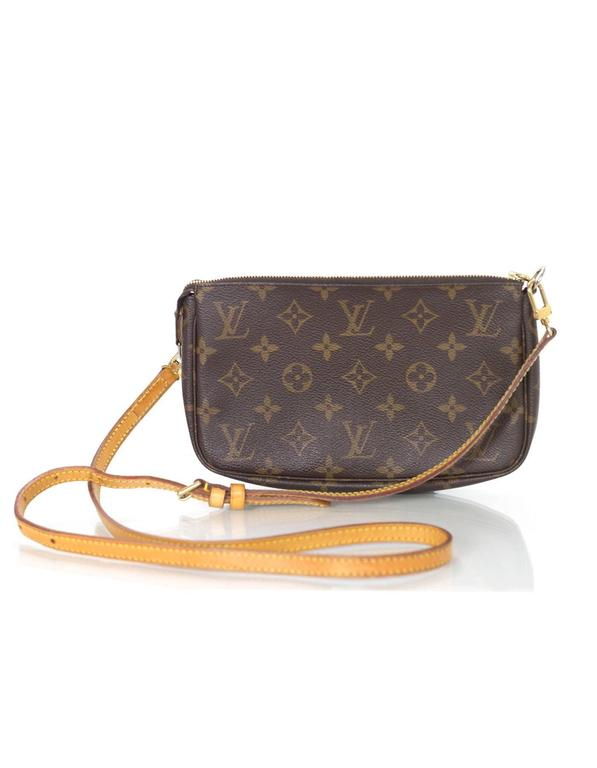Louis Vuitton Monogram Crossbody Pochette Features Long Adjule Strap Made In France Year Of