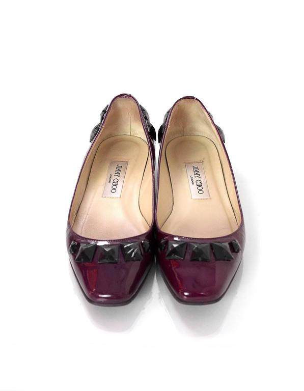 Jimmy Choo Burgundy Patent Leather Flats With Studs Sz 37.5 5