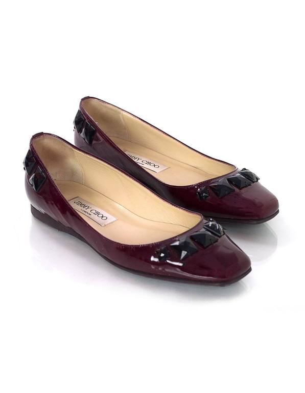 Jimmy Choo Burgundy Patent Leather Flats With Studs Sz 37.5 3