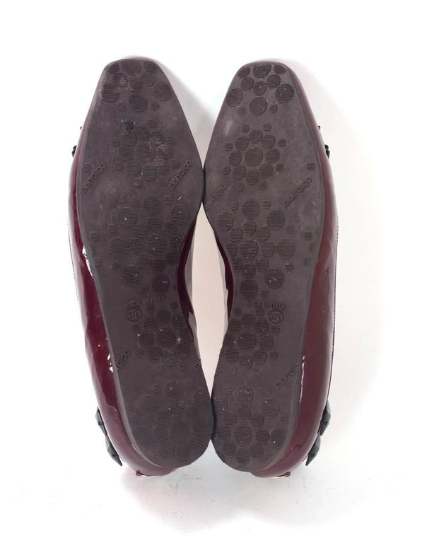 Jimmy Choo Burgundy Patent Leather Flats With Studs Sz 37.5 6