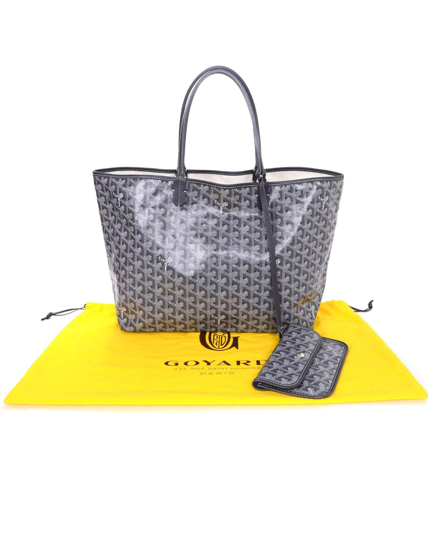 b179b069af589 Goyard Grey Chevron St. Louis PM Tote With Pouchette For Sale at 1stdibs