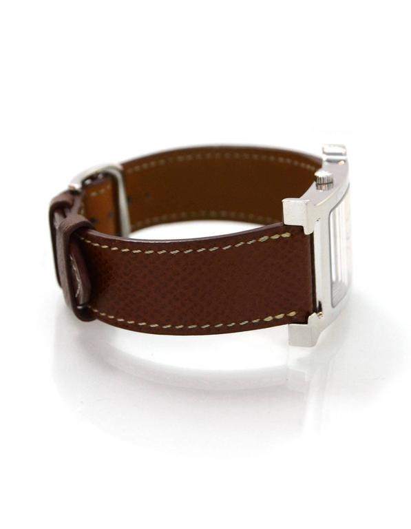 Hermes Tan Heure H MM Watch w/ Grey & Black Extra Bands In Excellent Condition In New York, NY