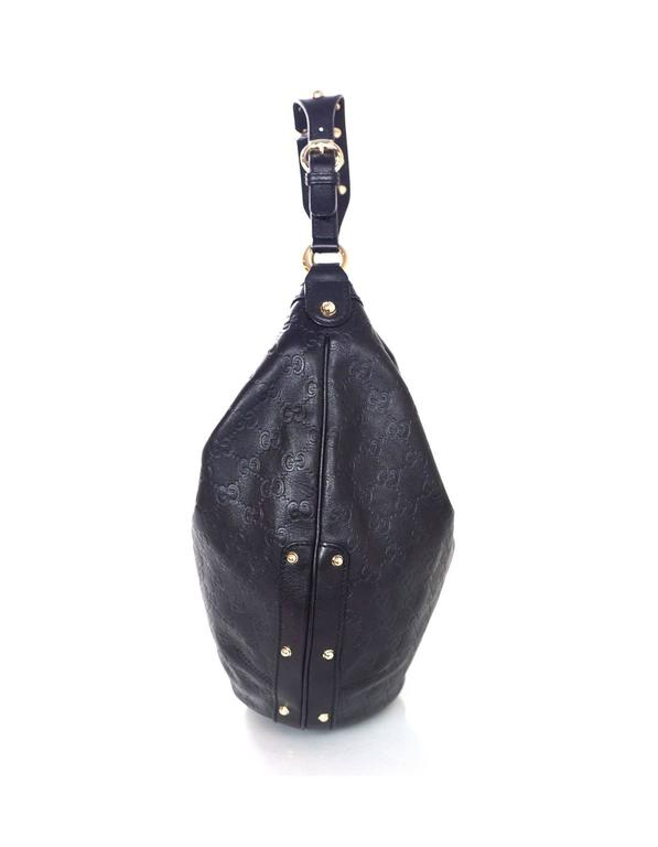 Gucci Black Leather Guccissima Studded Hobo Bag In Excellent Condition For New York