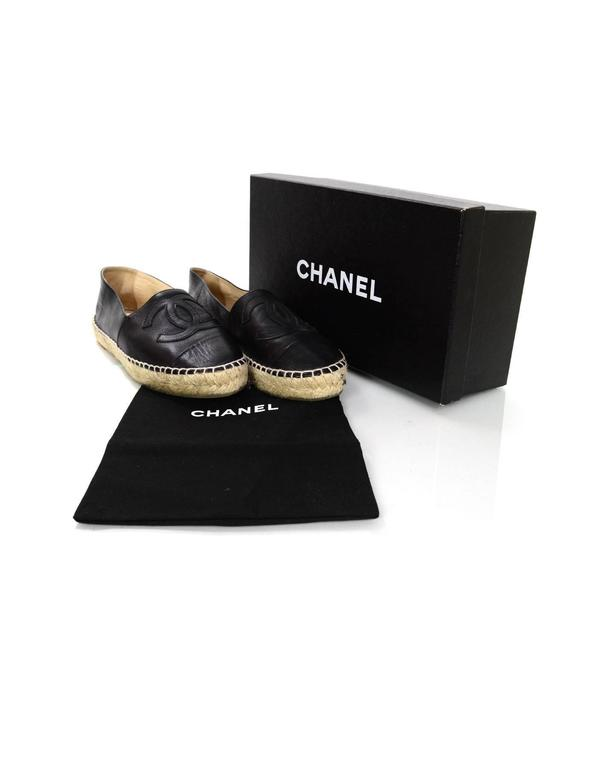 Chanel 2015 Black Lambskin Leather CC Espadrilles sz 37 7