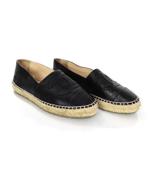 Chanel 2015 Black Lambskin Leather CC Espadrilles sz 37 4