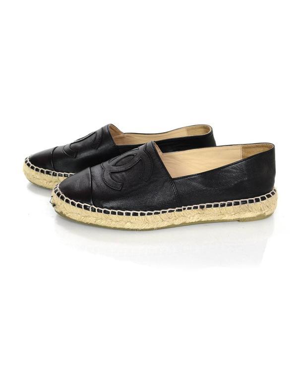 Chanel 2015 Black Lambskin Leather CC Espadrilles sz 37 2