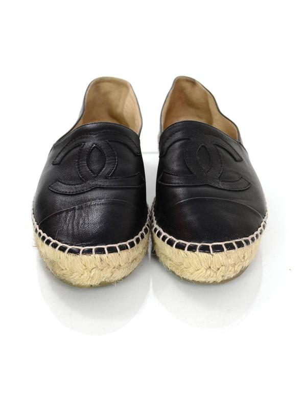 Chanel 2015 Black Lambskin Leather CC Espadrilles sz 37 In Excellent Condition For Sale In New York, NY