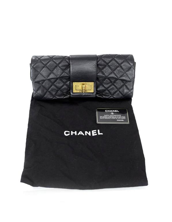 Chanel Black Quilted Leather 2.55 Reissue Clutch Bag For Sale 6