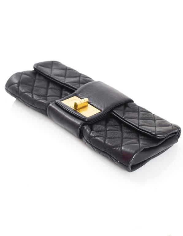 Chanel Black Quilted Leather 2.55 Reissue Clutch Bag For Sale 1