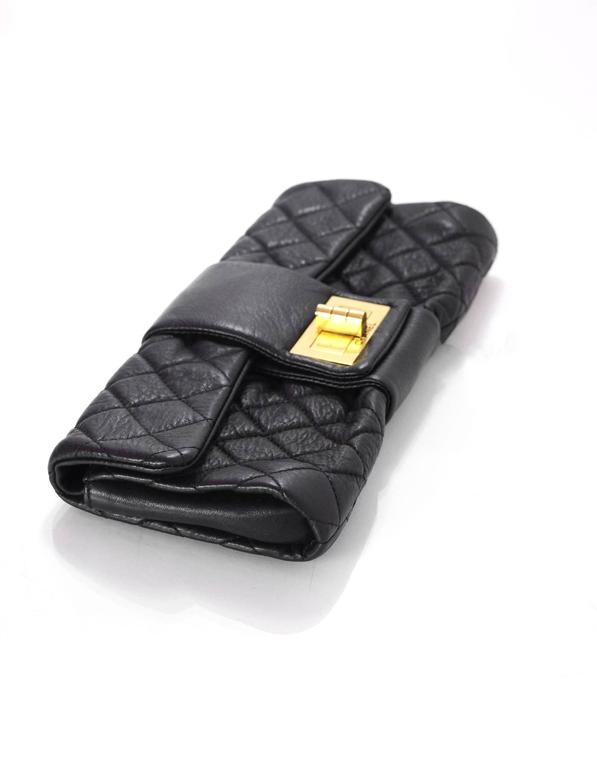 Chanel Black Quilted Leather 2.55 Reissue Clutch Bag For Sale 2