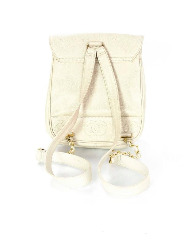 Chanel Vintage Ivory Caviar Leather Leather CC Backpack 4