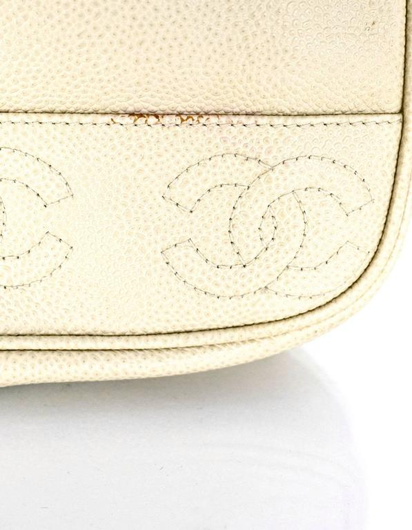 Chanel Vintage Ivory Caviar Leather Leather CC Backpack 7