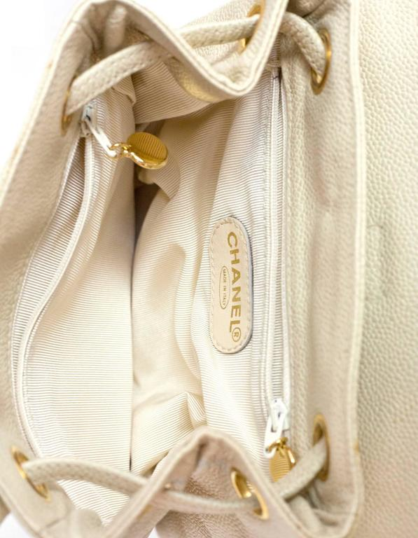 Chanel Vintage Ivory Caviar Leather Leather CC Backpack 8