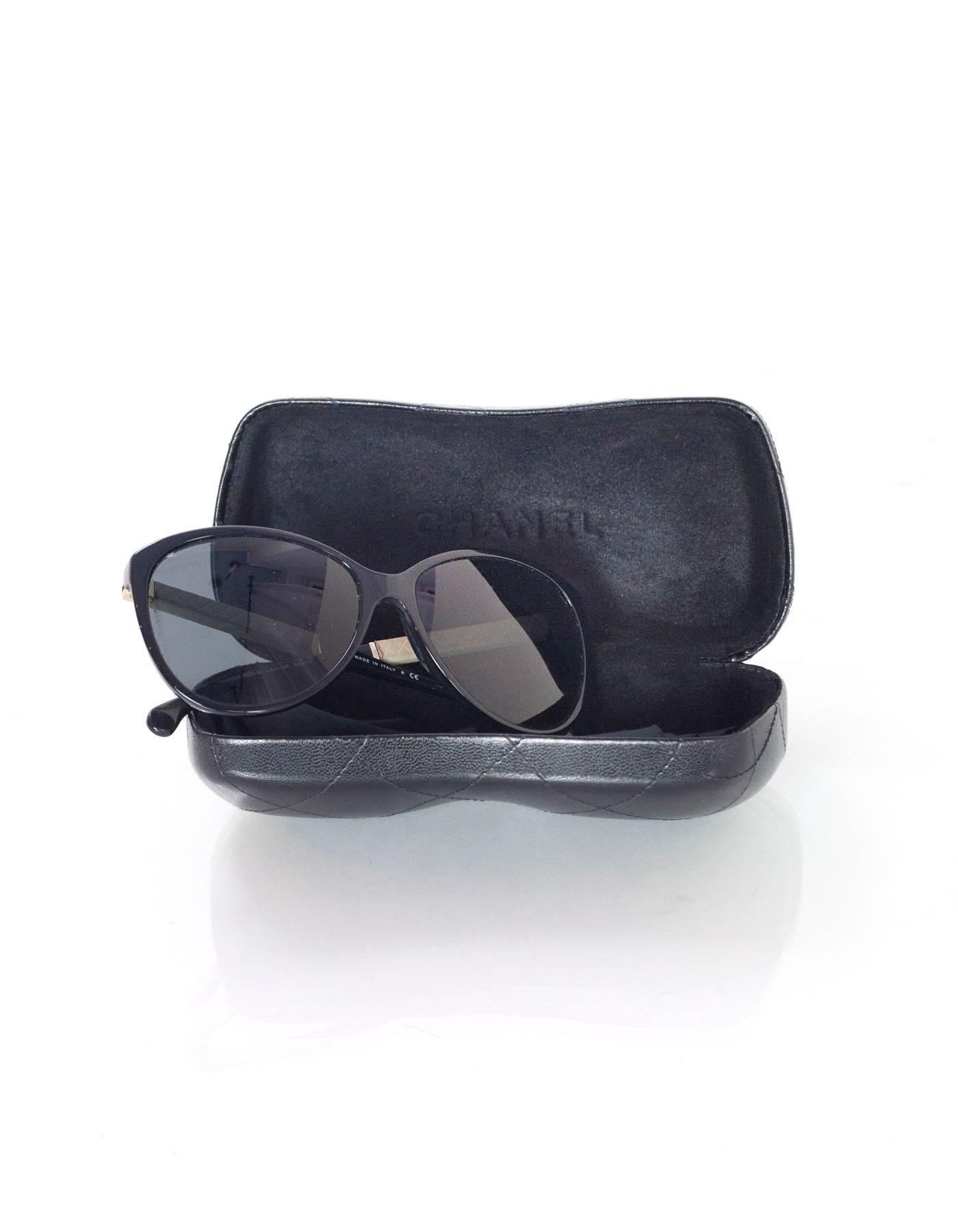 5a37a2ff00f48 Chanel Black Cat Eye Sunglasses With Quilting For Sale at 1stdibs