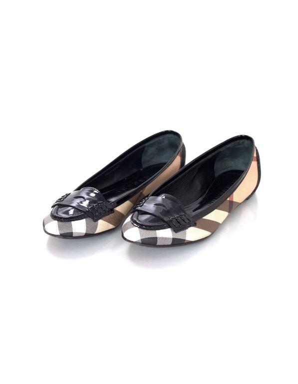 Burberry Nova Plaid Ballet Loafer Shoes Sz 37 2
