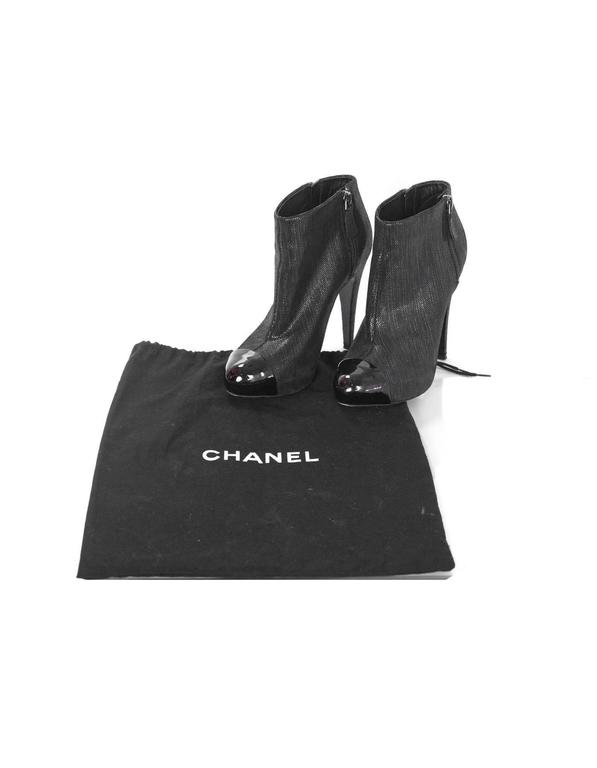Chanel Black Suede Heeled Bootie  sz 37 For Sale 4