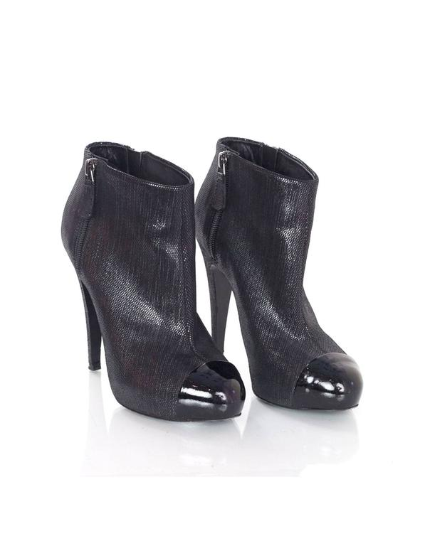 Women's Chanel Black Suede Heeled Bootie  sz 37 For Sale