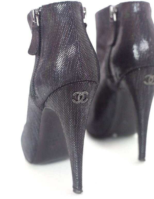 Chanel Black Suede Heeled Bootie  sz 37 For Sale 3