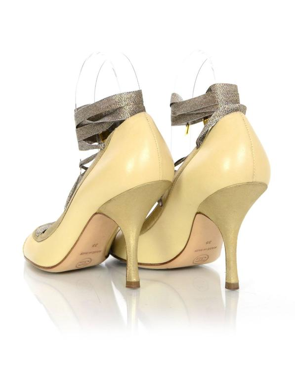 Chanel Tan And Gold Leather Lace-Up Pumps sz 36 4
