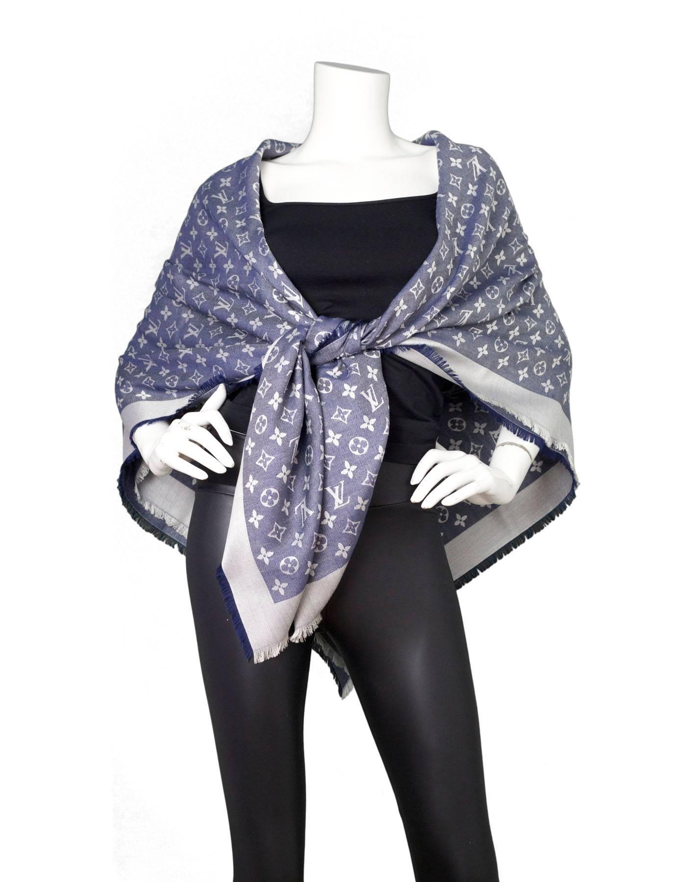 2099295911b1c Louis Vuitton Silk Wool Monogram Denim Shawl Scarf For Sale at 1stdibs