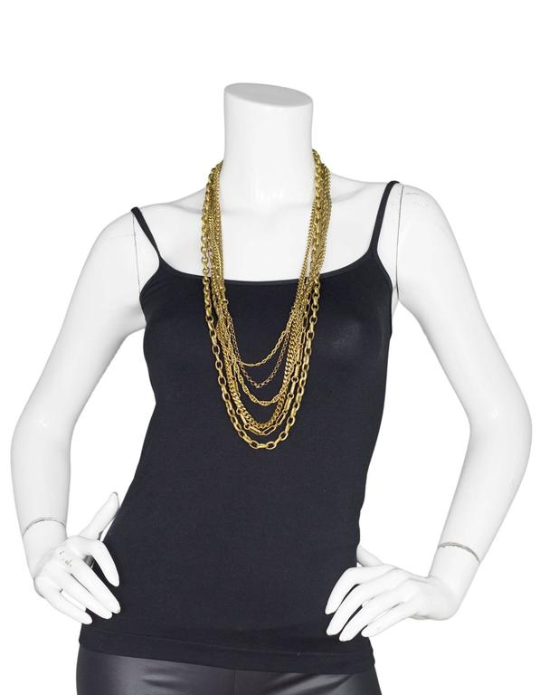 Chanel Vintage 6 Strand Goldtone Chain-link Gripoix Necklace 3