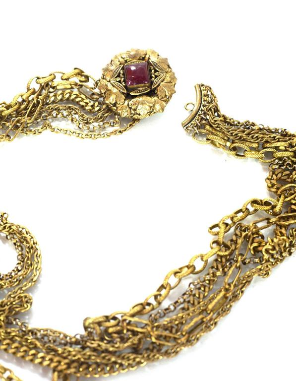 Chanel Vintage 6 Strand Goldtone Chain-link Gripoix Necklace 4