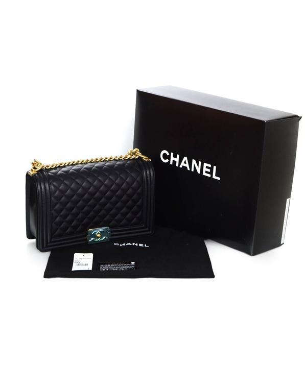 Chanel NEW IN BOX Black Leather New Medium Boy Bag GHW  10