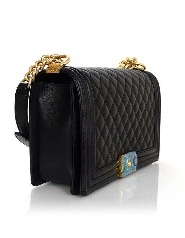 Chanel NEW IN BOX Black Leather New Medium Boy Bag GHW  3