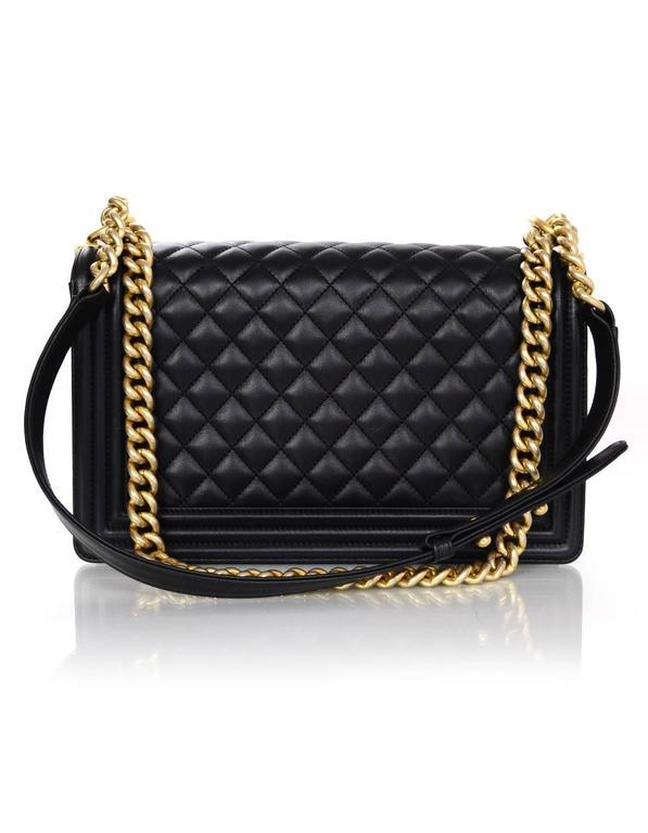 Chanel NEW IN BOX Black Leather New Medium Boy Bag GHW  4