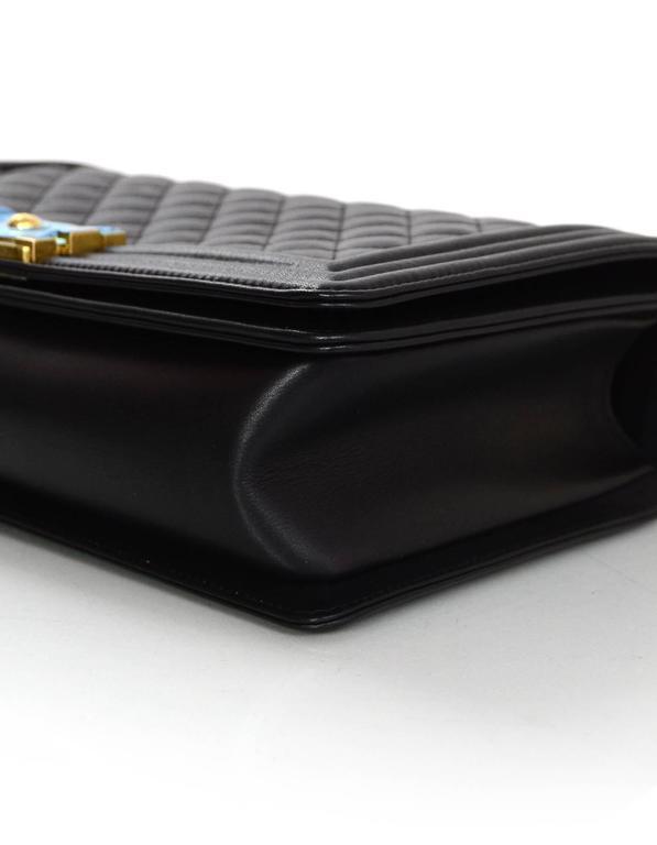 Chanel NEW IN BOX Black Leather New Medium Boy Bag GHW  6