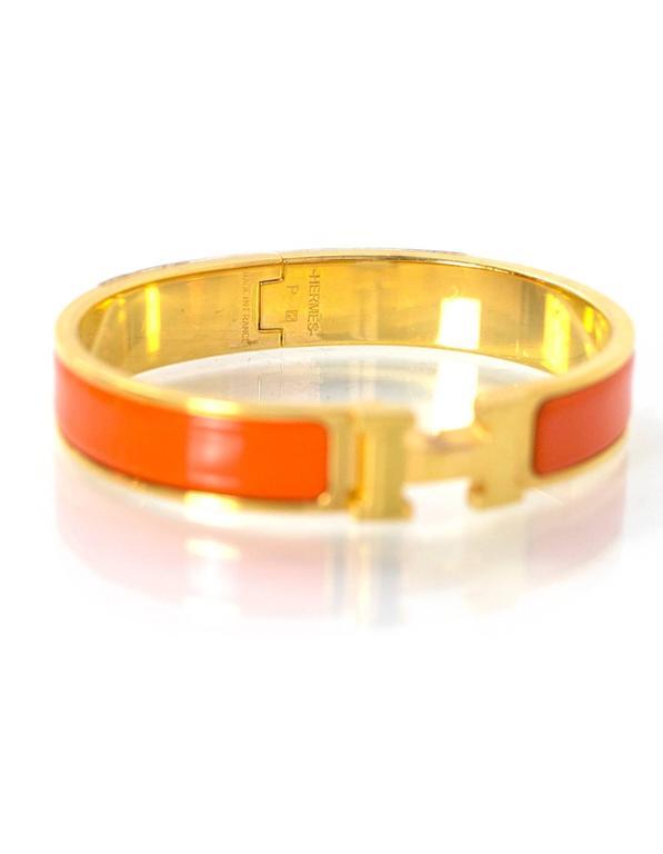 Hermes Orange Enamel Gold H Clic Clac Gm Bangle Made In France Color