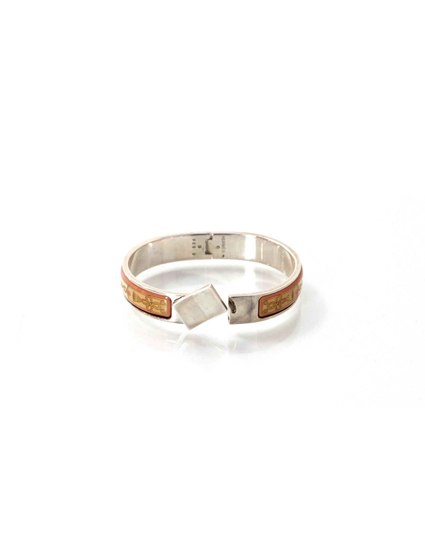 ef491c5557f Hermes Pink Tassel Print Enamel and Sterling Narrow Loquet Clic Clac  Bracelet at 1stdibs