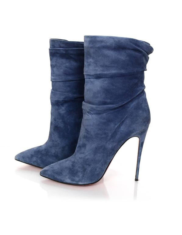 edf6ff7f4fbf Christian Louboutin Blue Suede Short Boots Features ruching at shaft Made  In  Italy Color