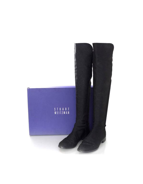 Stuart Weitzman Black 50/50 Half/Half Pindot Boots sz US8 w/BOX For Sale 3