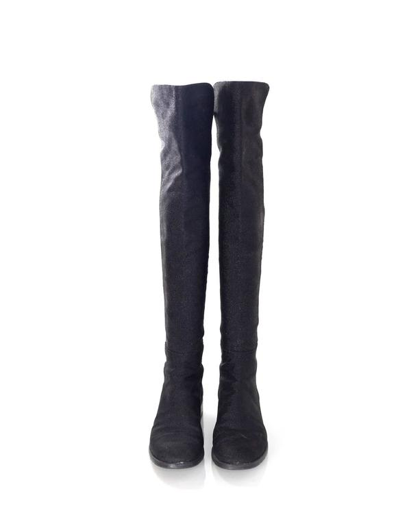 Stuart Weitzman Black 50/50 Half/Half Pindot Boots sz US8 w/BOX In Excellent Condition For Sale In New York, NY