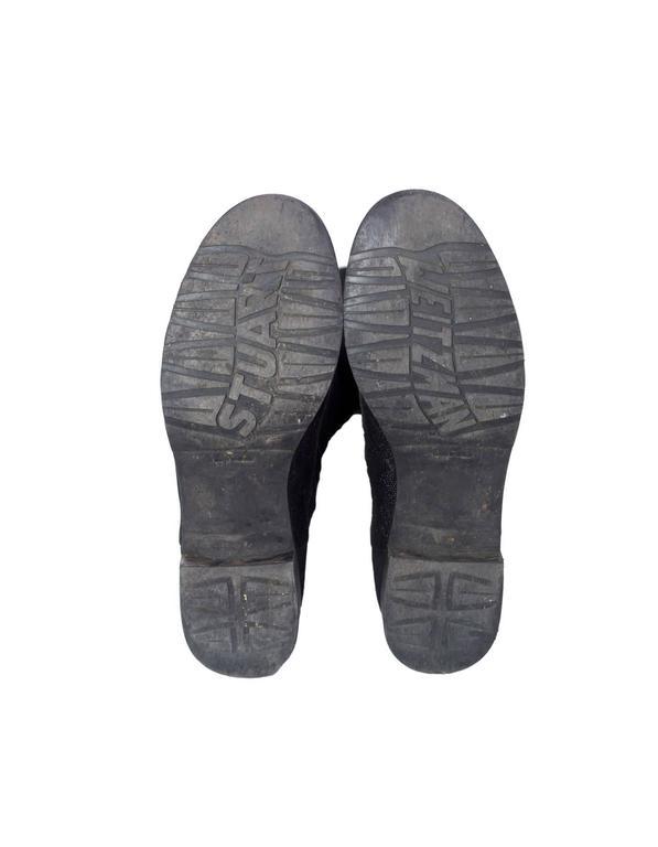 Stuart Weitzman Black 50/50 Half/Half Pindot Boots sz US8 w/BOX For Sale 2
