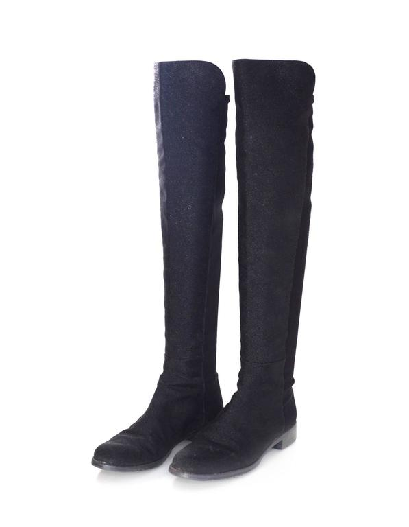 Stuart Weitzman Black Half/Half Pindot Boots  Features half of boot in nylon and other half with dot detailing  Made In: Spain Color: Black Materials: Nylon and suede Closure/Opening: Pull on Sole Stamp: Stuart Weitzman Made in Spain Overall