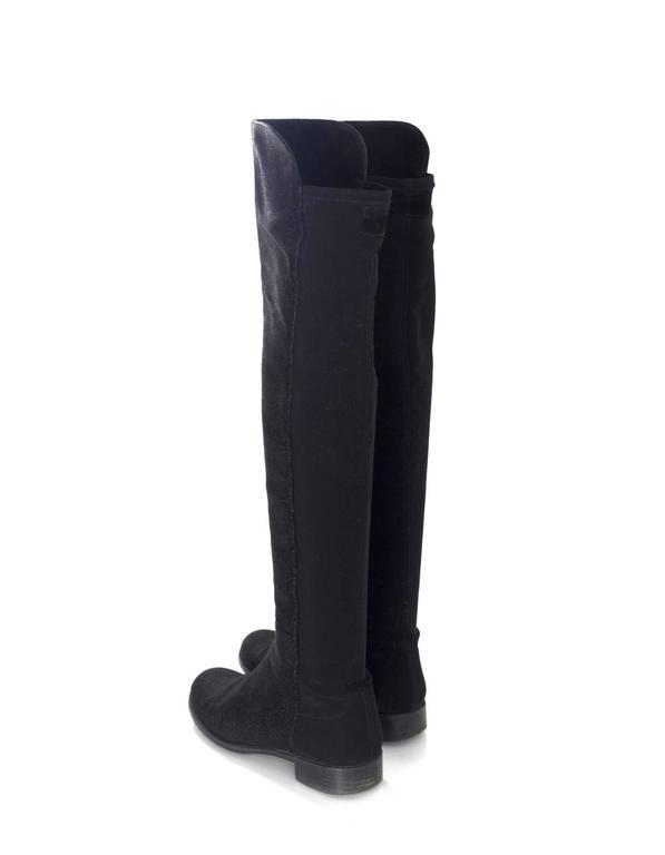 Stuart Weitzman Black 50/50 Half/Half Pindot Boots sz US8 w/BOX For Sale 1
