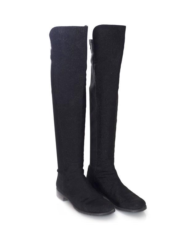 Women's Stuart Weitzman Black 50/50 Half/Half Pindot Boots sz US8 w/BOX For Sale