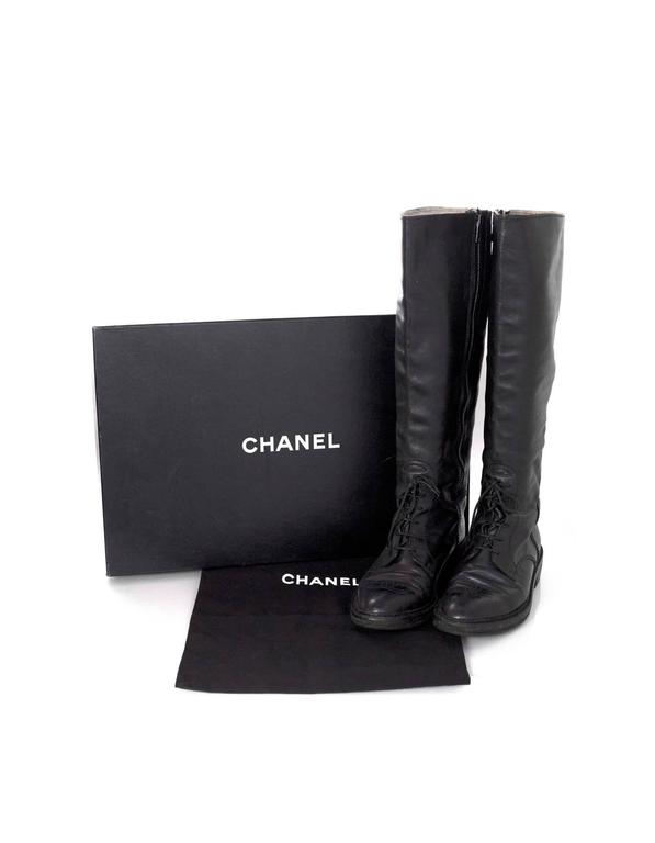 Chanel Black Leather Riding Boots sz 38 w/ BOX&DB For Sale 3