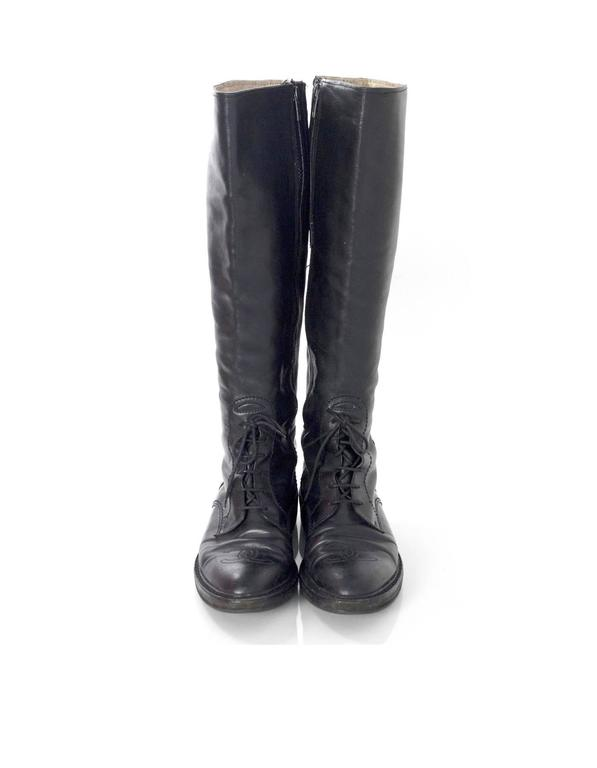 Chanel Black Leather Riding Boots sz 38 w/ BOX&DB In Excellent Condition For Sale In New York, NY