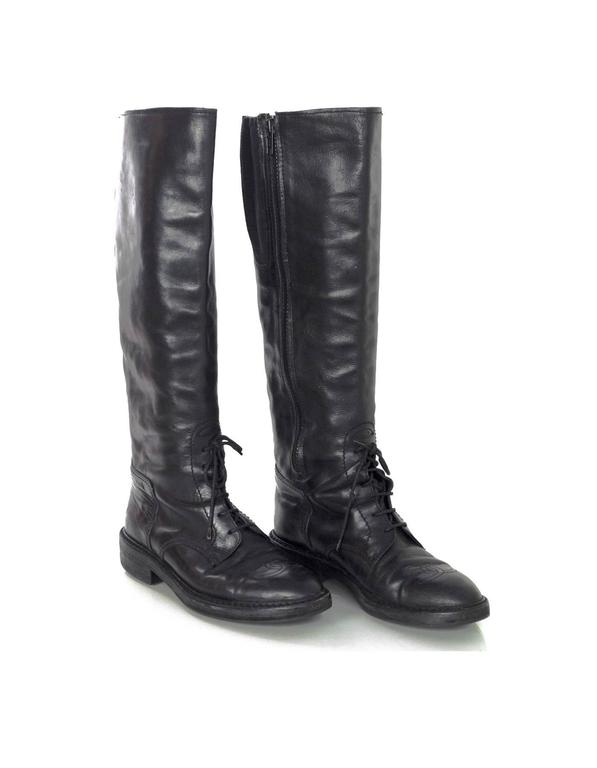 Women's Chanel Black Leather Riding Boots sz 38 w/ BOX&DB For Sale