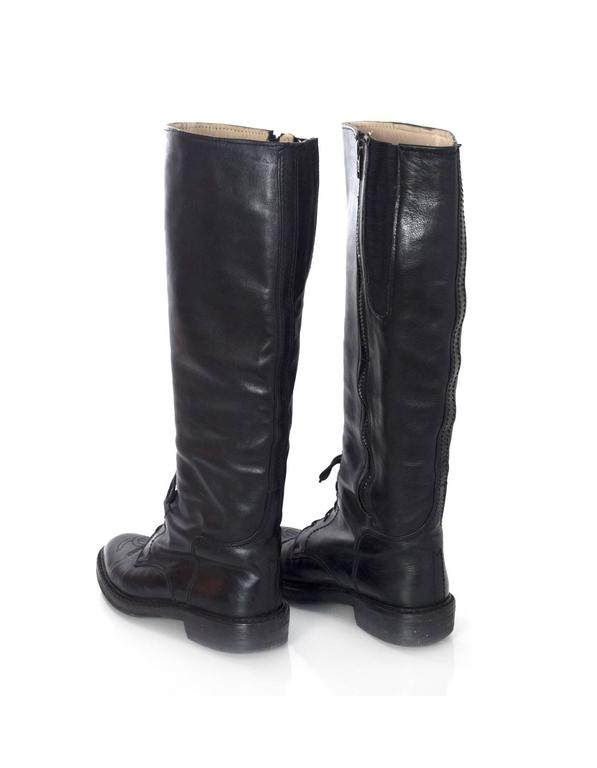 Chanel Black Leather Riding Boots sz 38 w/ BOX&DB For Sale 1