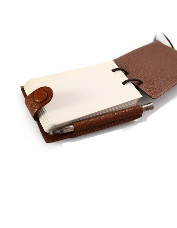 Women's or Men's Hermes Brown Chevre Leather Notebook Necklace w/ Pen For Sale