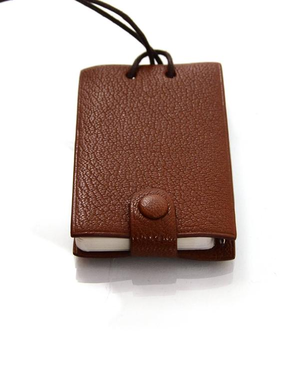 Hermes Brown Chevre Leather Notebook Necklace w/ Pen In Excellent Condition For Sale In New York, NY
