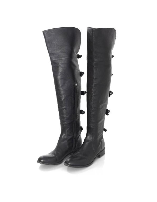 Valentino Black Leather Knee-High Boots sz 40 rt. $1,695 2