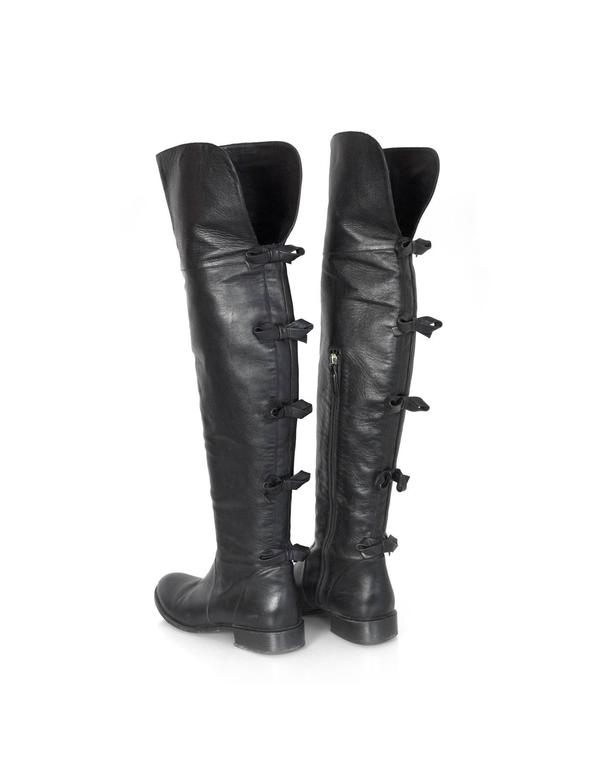 Valentino Black Leather Knee-High Boots sz 40 rt. $1,695 5