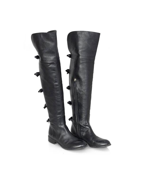 Valentino Black Leather Knee-High Boots sz 40 rt. $1,695 4