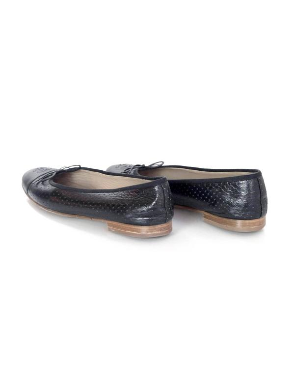 Chanel Black Leather Perforated Ballet Flats sz 41.5 5
