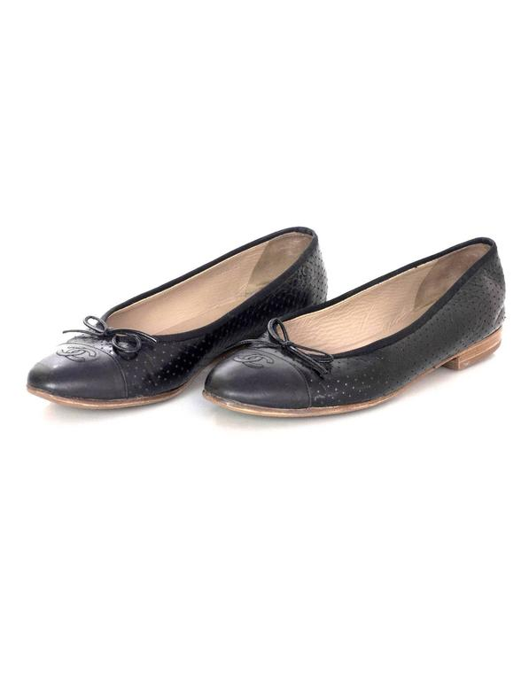Chanel Black Leather Perforated Ballet Flats sz 41.5 2
